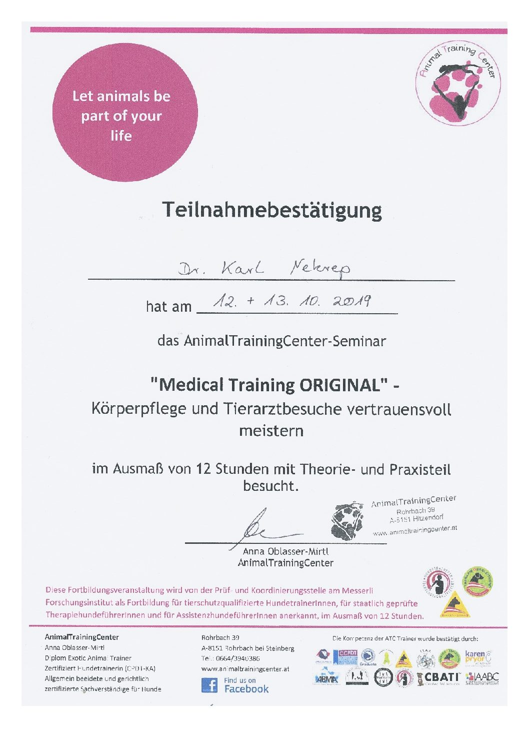 Medical Training Original, A. Oblasser-Mirtl, Animal Training Center 10 2019